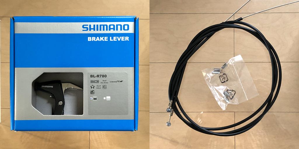 シマノBL-R780:ブレーキケーブルは、アウター×2本、インナー×2本、アウター用エンドキャップ×4本、インナー用エンドキャップ×2本が同包されています。素材は、磁石が着くのでスチール。