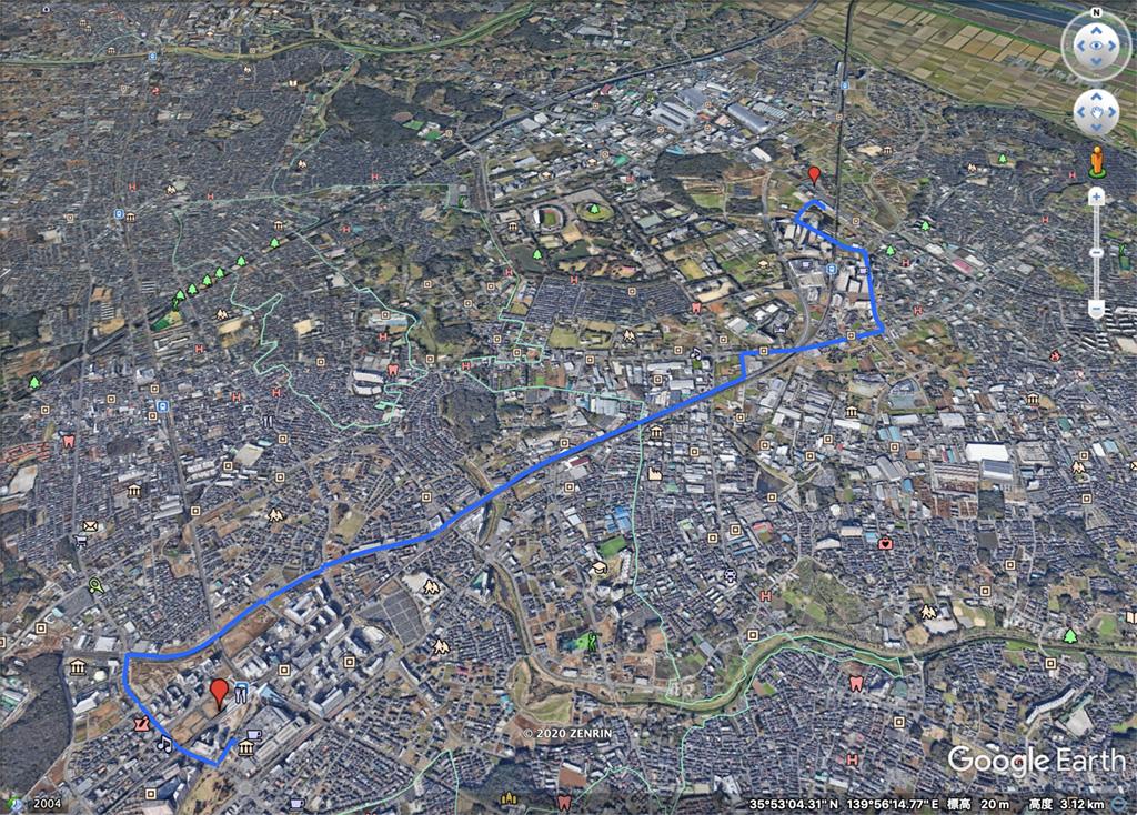 Google Earthで開いたKMLファイル。描いたルートが一望できます。