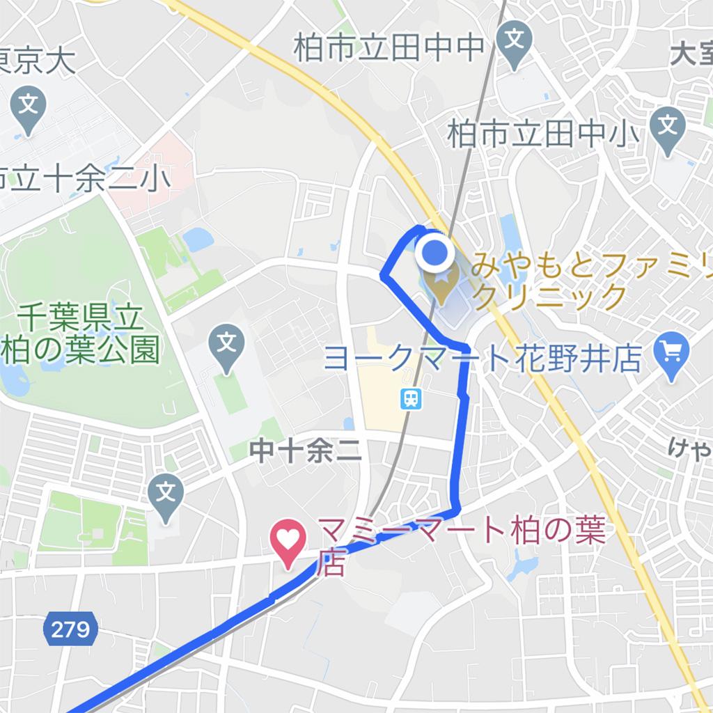 Googleマイマップ TX沿線ポタリング:スタート地点まで移動して、やっと自分の現在地と経路が重なります。実走レポートは次回にご期待あれ!