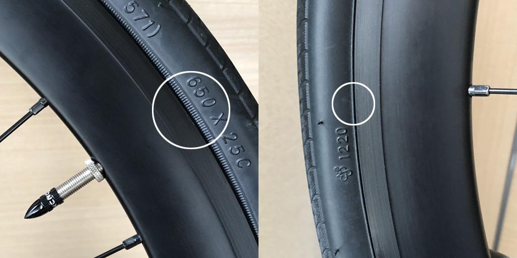 左:バルブ後方のタイヤが、リムから3mmくらいはみ出しているのが確認できる。右:バルブと反対側を見ると、ピッチリ隙間なし。このわずかな盛り上がりが、けっこうな振動の原因。