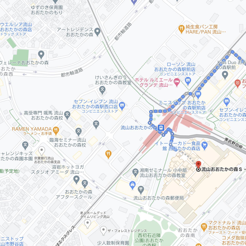 Google Maps ルート検索:徒歩ルート:歩行者でも初見さんにはややこしい、流山おおたかの森の駅周辺。