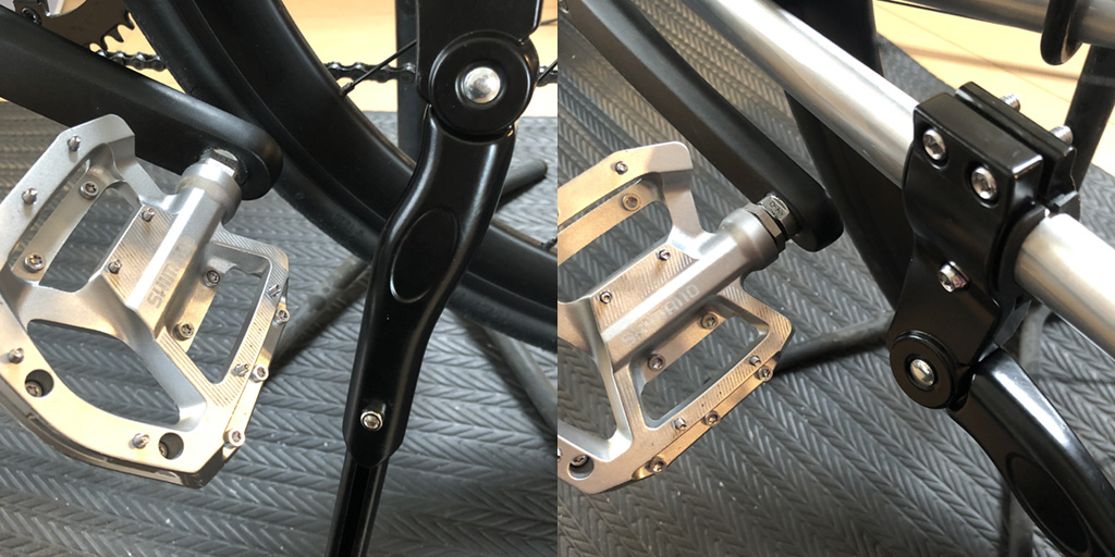tern RIPへキックスタンドの取り付け:キックスタンドのクランプ取り付け箇所とペダルの位置関係。